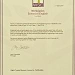 Wimbledon School of English Certificate 2014