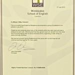 Wimbledon School of English Certificate 2012