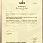 Wimbledon School of English certificate 2013
